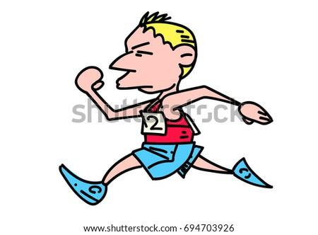 Marathon Runner Cartoon Hand Drawn Image Original Colorful Artwork Comic Childish Style Drawing