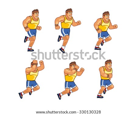 Marathon Runner Jumping Sprite - stock vector