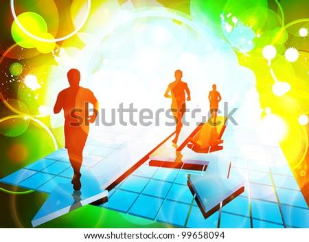 Marathon runners - stock vector