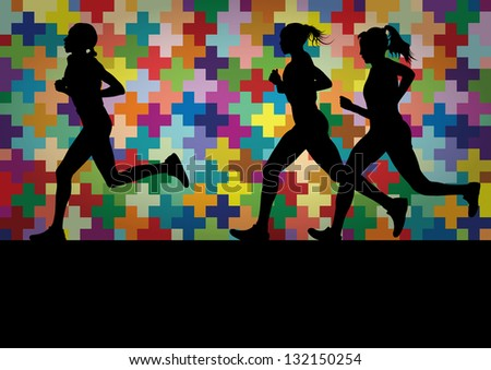 Marathon runners active woman silhouettes  in colorful landscape background illustration - stock vector