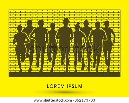Marathon runners, crowd of people running, designed on outline wall background graphic vector.
