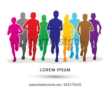 Marathon runners, crowd of people running graphic vector. - stock vector