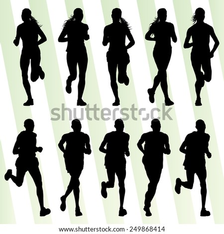 Marathon runners detailed active illustration silhouettes collection background vector set - stock vector