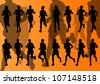 Marathon runners detailed active man and woman illustration silhouettes collection background vector - stock vector