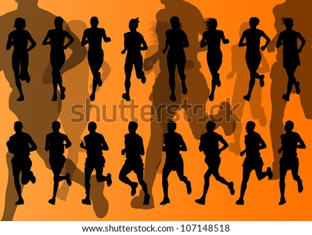 Marathon runners detailed active man and woman illustration silhouettes collection background vector