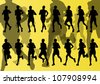 Marathon runners detailed active man illustration silhouettes collection background vector - stock