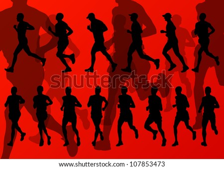 Marathon runners detailed active man illustration silhouettes collection background vector