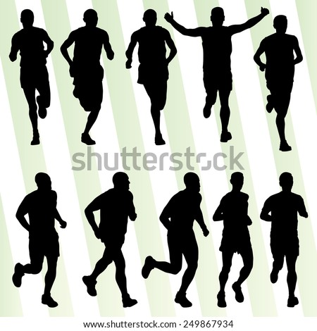 Marathon runners detailed active man illustration silhouettes collection background vector set