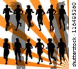 Marathon runners detailed active woman illustration silhouettes collection background vector - stock vector
