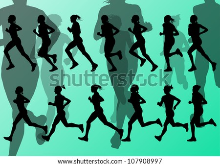 Marathon runners detailed active woman illustration silhouettes collection background vector