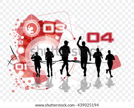 Marathon runners illustration - stock vector