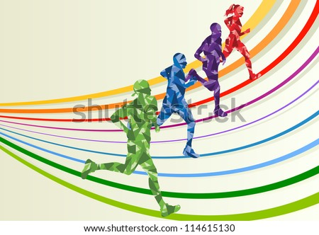Marathon runners in colorful rainbow landscape background illustration - stock vector