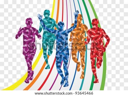 Marathon Runner Logo Marathon Runners in Colorful