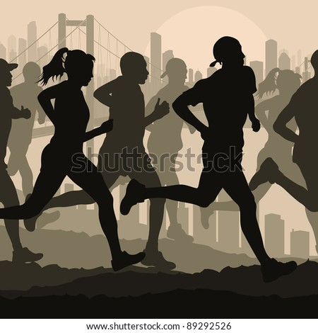 Marathon runners in skyscraper city bridge landscape background illustration