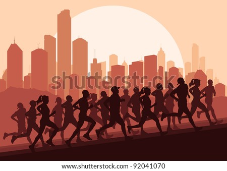 Marathon runners in skyscraper city landscape background illustration vector - stock vector