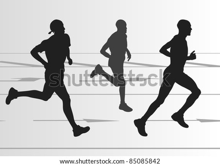 Marathon runners in urban city landscape background illustration - stock vector