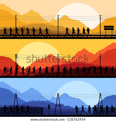 Marathon runners in wild forest nature mountain landscape background illustration vector - stock vector