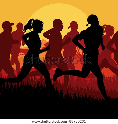Marathon runners in wild nature landscape background illustration