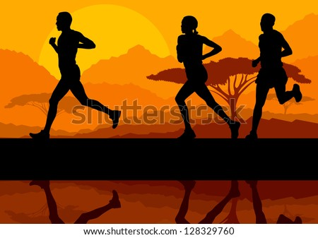 Marathon runners in wild nature mountain landscape background illustration vector - stock vector