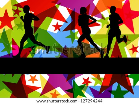 Marathon sport runners in colorful abstract star line background vector illustration - stock vector