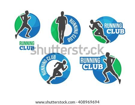 Marathon vector logo. Running club icon. â??ompetition on the run. Cardio workout. Run club label or emblem. Triathlon vector icon with running man.  - stock vector