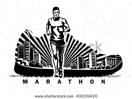 Marathon. Vector sport illustration in the engraving style - stock vector