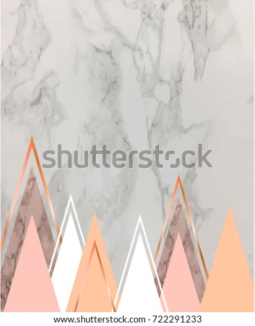 Marble Background Rose Gold Triangles Geometric Stock Vector ...