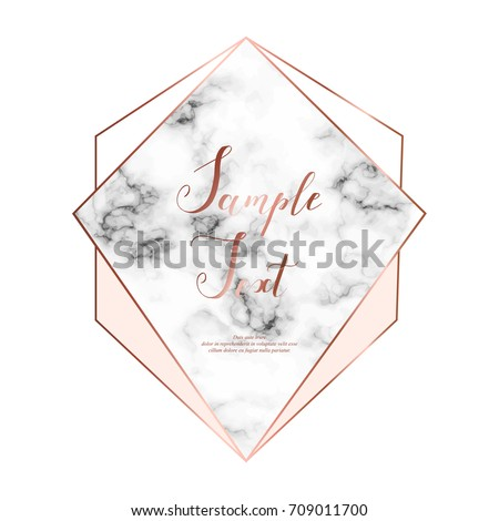 Marble polygonal frame. Copper glitter triangles, hexagon, geometric shapes. Diamond shape. Template for design, print, poster, card, invitation, party, birthday, wedding, save the date, business.