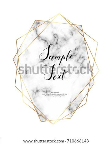 Marble polygonal frame. Gold glitter triangles, hexagon, geometric shapes. Diamond shape. Template for design, print, poster, card, invitation, party, birthday, wedding, save the date, business.