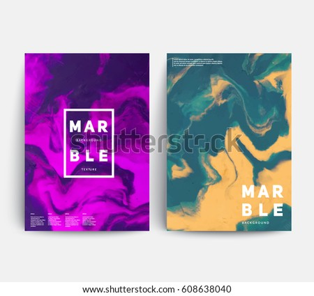 Marble texture covers set. Colorful artistic backgrounds. Trendy design. Eps10 layered vector.