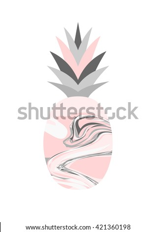 Marble texture pineapple design in pastel colors isolated on white background. - stock vector