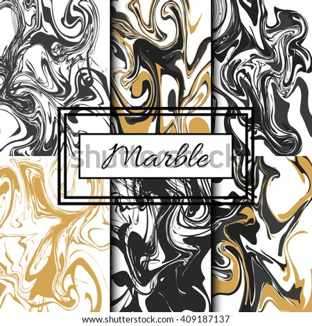 Marble texture vector set. Hand drawn black and gold ink marble pack.