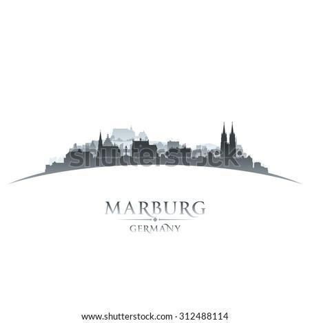 Marburg Germany city skyline silhouette. Vector illustration - stock vector