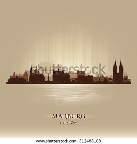 Marburg Germany city skyline vector silhouette illustration - stock vector