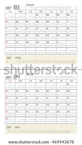 March & April 2017 -planning calendar / Calendar to schedule monthly - March & April 2017