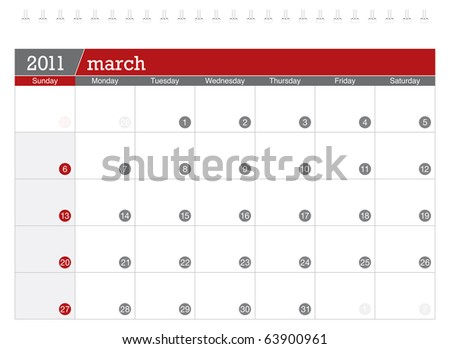 March 2011 Calendar - stock vector