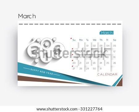 March 2016 calendar design. - stock vector