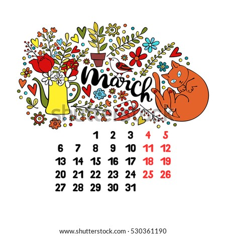 March. 2017. Calendar. Isolated vector object on white background.