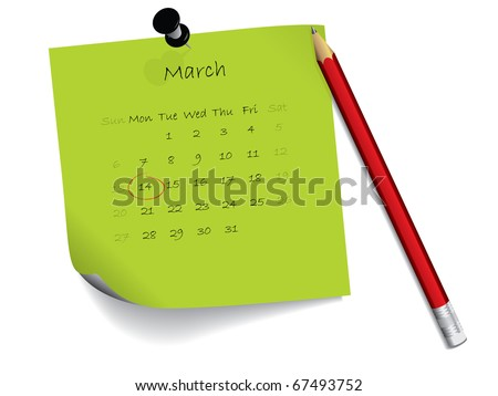 March calendar on notepaper - stock vector