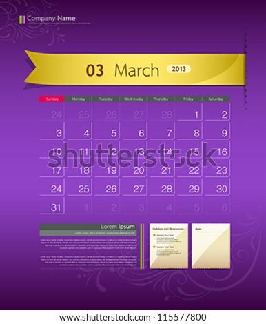 March 2013 calendar ribbon design, vector illustration - stock vector