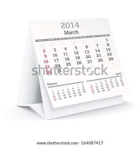 march 2014 - calendar - vector illustration