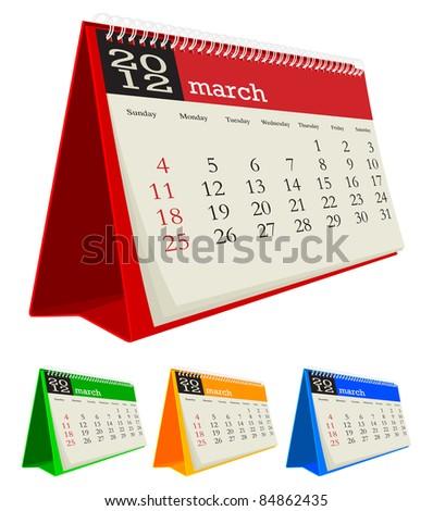 march 2012 desk calendar - stock vector