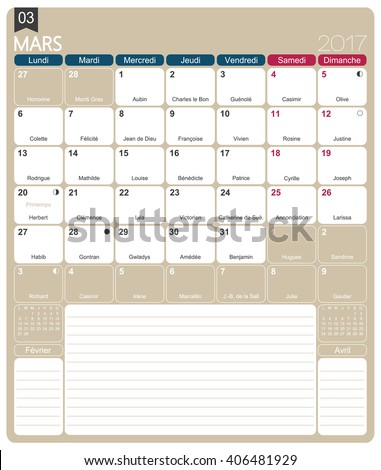 March 2017 French Printable Monthly Calendar Stock Vector 406481929