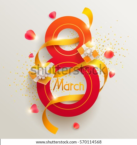 March 8 international women's day. Vector greeting card.