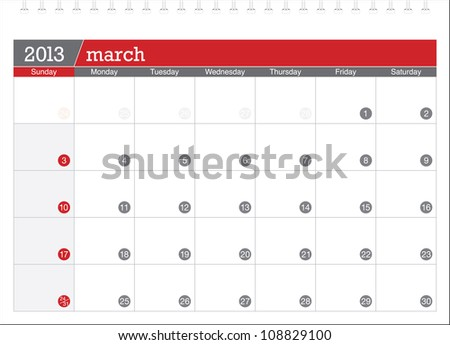 march 2013-planning calendar - stock vector