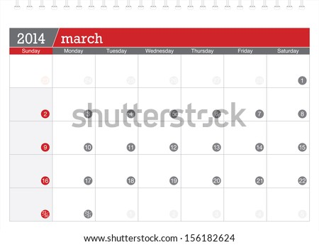 march 2014 planning calendar - stock vector