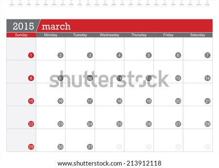 March 2015 planning calendar - stock vector