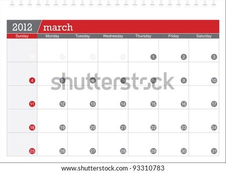 march 2012-planning calendar - stock vector