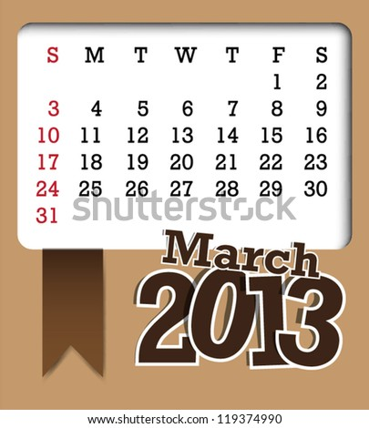 March 2013 retro vector calendar template design - stock vector