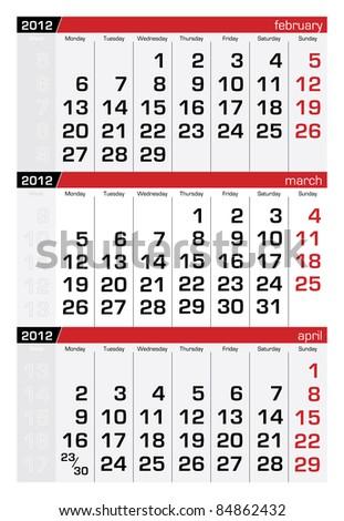 March 2012 Three-Month Calendar - stock vector